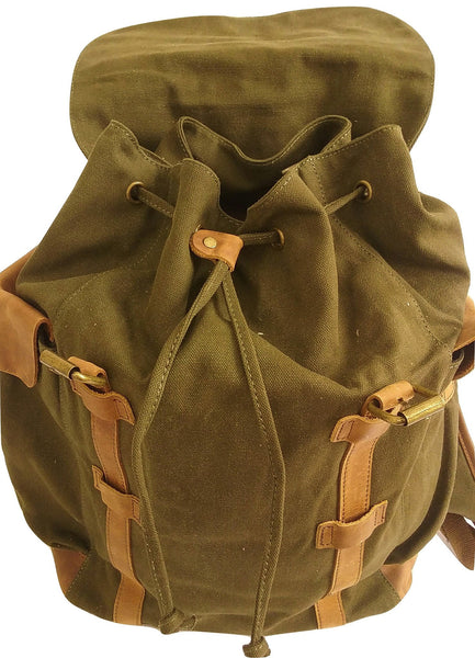 Vintage Drawstring Canvas and Leather Backpack - Leather And Wood Co.