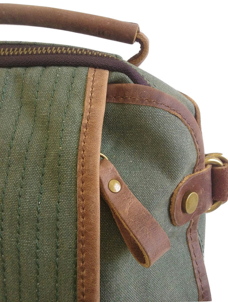 Green Canvas and Leather Backpack - Leather And Wood Co.