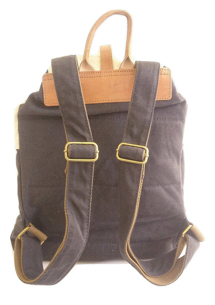 Two-Tone Grey Canvas Drawstring Backpack - Leather And Wood Co.