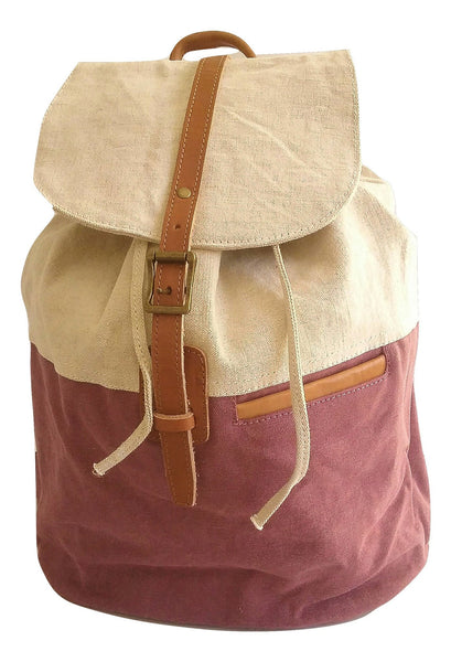 Two-Tone Plum Canvas Drawstring Backpack - Leather And Wood Co.