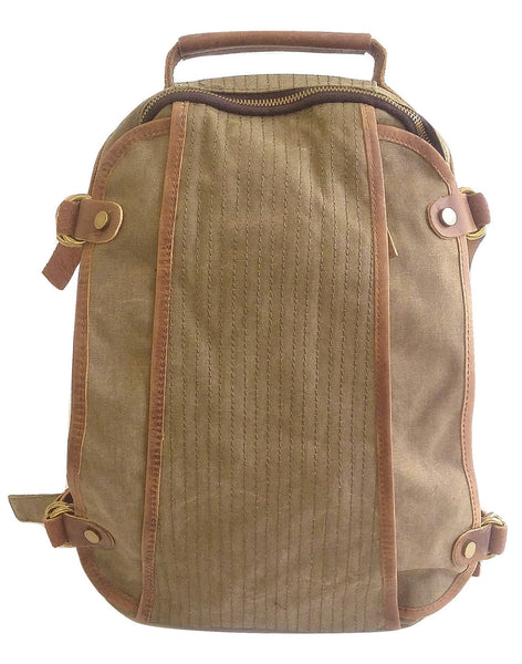 Taupe Canvas and Leather Backpack - Leather And Wood Co.