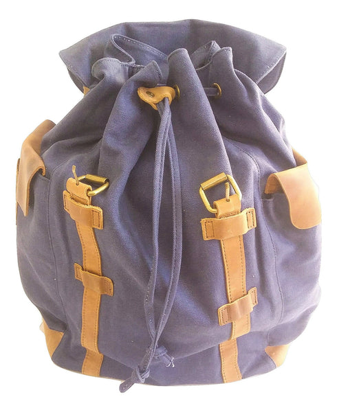 Vintage Deep Blue Canvas and Leather Drawstring Backpack - Leather And Wood Co.