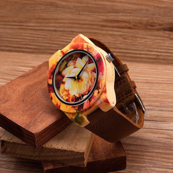 Flower Power Wood Watch - Leather And Wood Co.