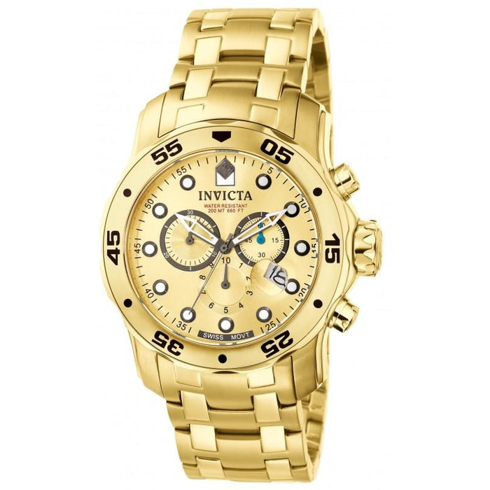 Invicta Men's 0074 Pro Diver Quartz Chronograph Gold Dial Watch