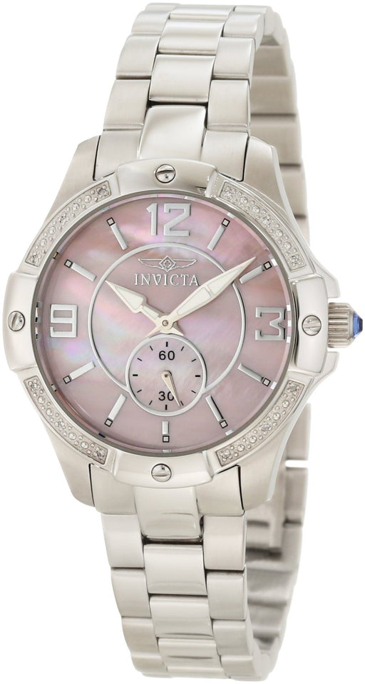 Invicta Women's 10219 Angel Quartz 3 Hand Pink Dial Watch
