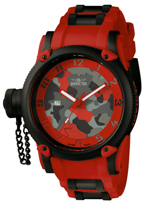 Invicta Men's 11334 Russian Diver Quartz 3 Hand Red, Camouflage Dial Watch