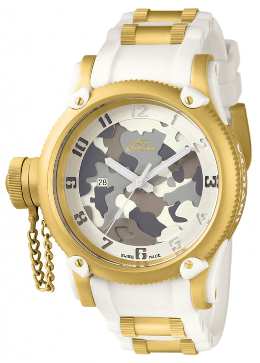Invicta Men's 11338 Russian Diver Quartz 3 Hand White, Camouflage Dial Watch