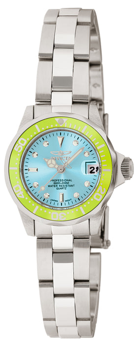 Invicta Women's 11438 Pro Diver Quartz 3 Hand Light Blue Dial Watch