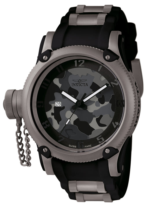 Invicta Men's 1202 Russian Diver Quartz 3 Hand Black, Grey, Dark Grey, Light Grey Dial Watch