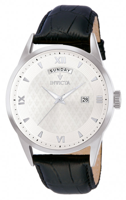 Invicta Men's 12242 Vintage Quartz 3 Hand Silver Dial Watch