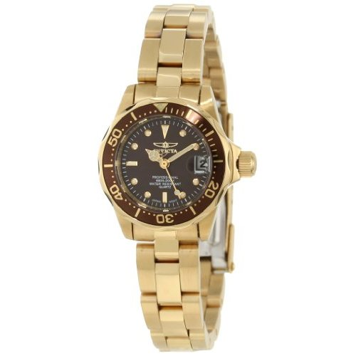 Invicta Women's 12524 Pro Diver Quartz 3 Hand Brown Dial Watch