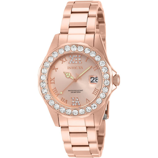 Invicta Women's 15253 Pro Diver Quartz 3 Hand Rose Gold Dial Watch