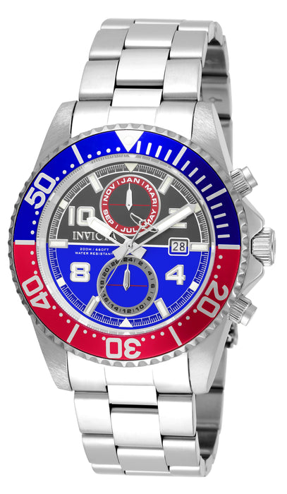 Invicta Men's 18517 Pro Diver Quartz 3 Hand Gunmetal, Blue Dial Watch
