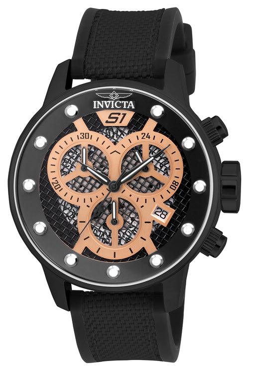 Invicta Men's 19625 S1 Rally Quartz Multifunction Black, Rose Gold Dial Watch