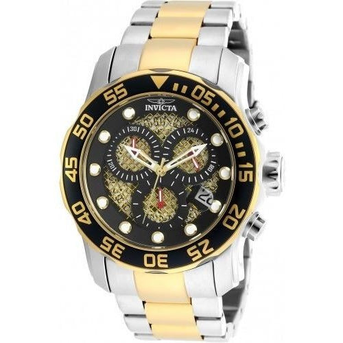 Invicta Men's Pro Diver Quartz 3 Hand Black, Gold Dial Watch 19839