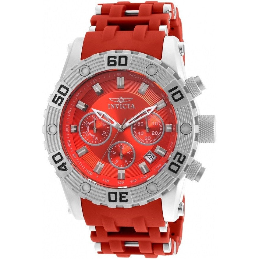 Invicta Men's Sea Spider Red Polyurethane Band Swiss Quartz Analog Watch 22088