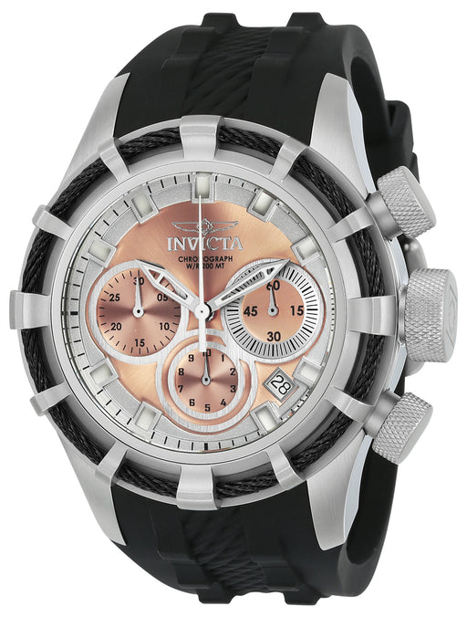 Invicta Men's 22149 Bolt Quartz Chronograph Rose Gold, Silver Dial Watch