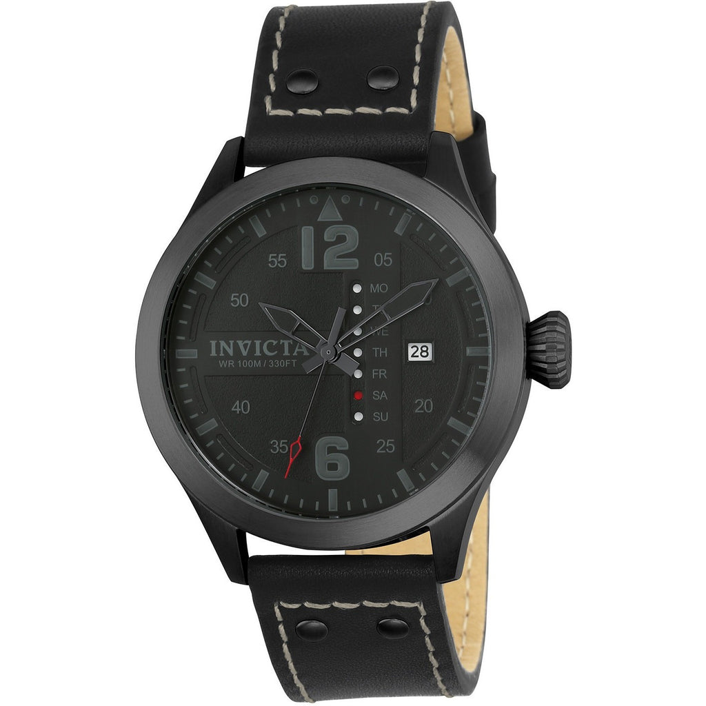 Invicta Men's 22186 I-Force Quartz 3 Hand Black Dial Watch