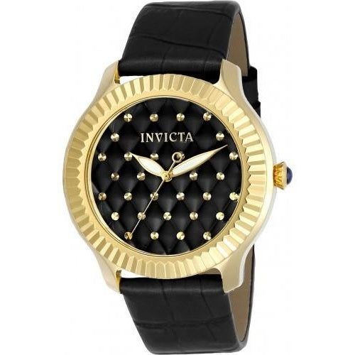 Invicta Women's Angel Quartz 3 Hand Black Dial Watch 22563