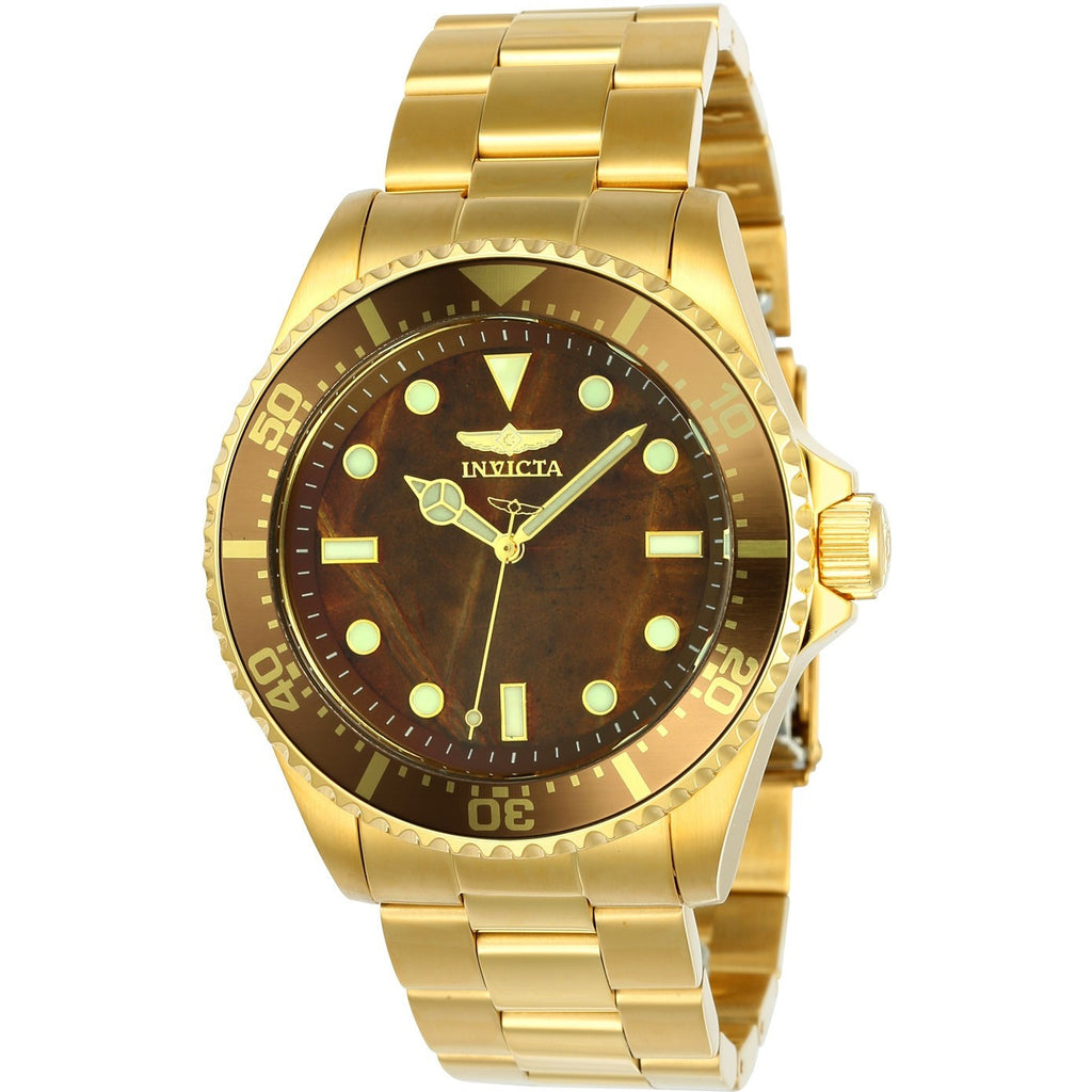 Invicta Men's 23421 Pro Diver Quartz 3 Hand Brown Dial Watch