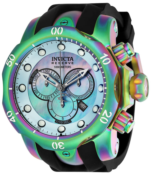 Invicta Men's 24062 Venom Quartz Chronograph Platinum, Light Blue Dial Watch