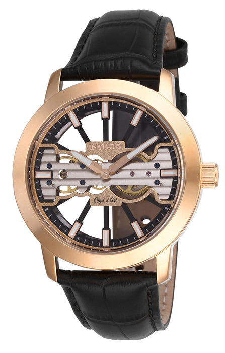 Invicta  Men's 25267 Objet D Art Mechanical 2 Hand Black, Rose Gold Dial Watch