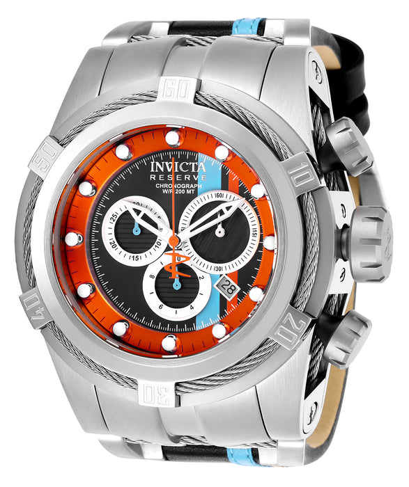 Invicta  Men's 25424 Reserve Quartz 3 Hand Black, Orange, Ocean Blue Dial Watch