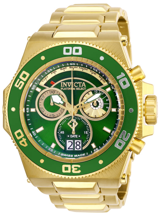 Invicta Men's 26051 Akula Quartz Chronograph Green, Gold Dial Watch