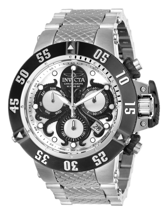 Invicta Men's 26131 Subaqua Quartz Chronograph Silver, Black Dial Watch