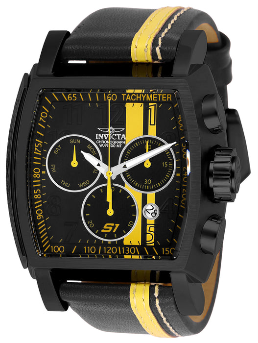 Invicta Men's 26397 S1 Rally Quartz Chronograph Black, Yellow Dial Watch