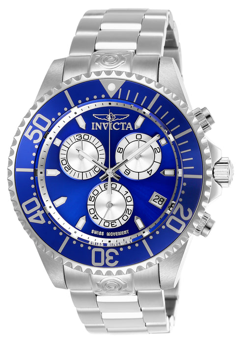 Invicta Men's 26847 Pro Diver Quartz Chronograph Blue, Silver Dial Watch