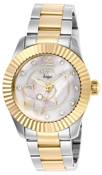Invicta Women's 27441 Angel Quartz 3 Hand White, Gold Dial Watch