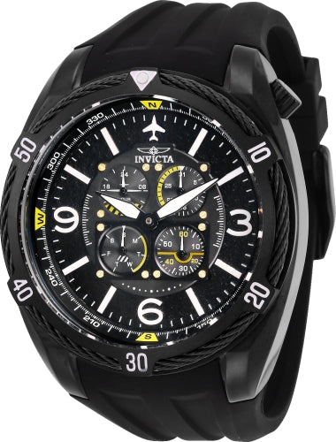 Invicta Men's 28078 Aviator Quartz Multifunction Black Dial Watch