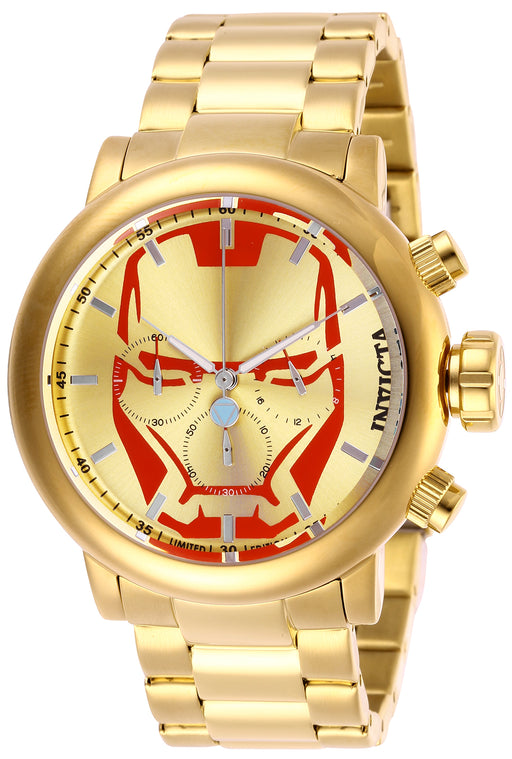 Invicta Men's 28146 Marvel Quartz Chronograph Red, Gold Dial Watch