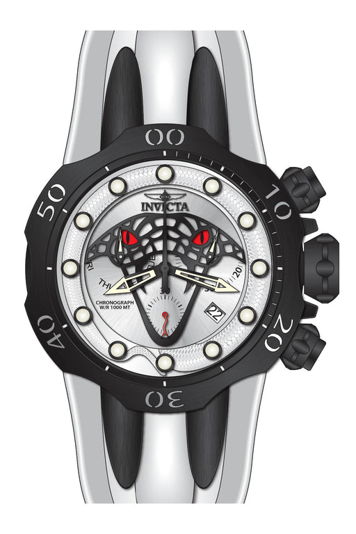 Invicta Men's 28385 Venom Quartz Chronograph Antique Silver, Black Dial Watch