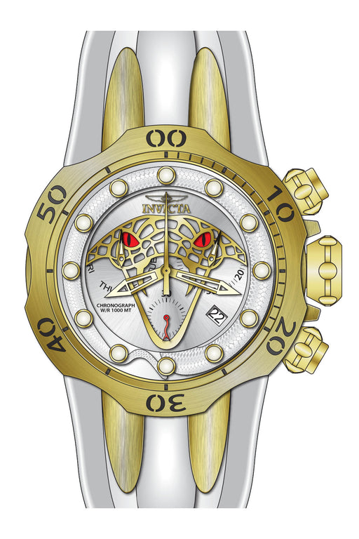 Invicta Men's 28389 Venom Quartz Chronograph Antique Silver, Gold Dial Watch