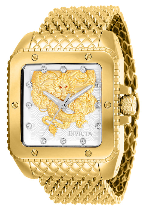 Invicta Men's 28511 Cuadro Automatic 3 Hand Silver, Gold Dial Watch