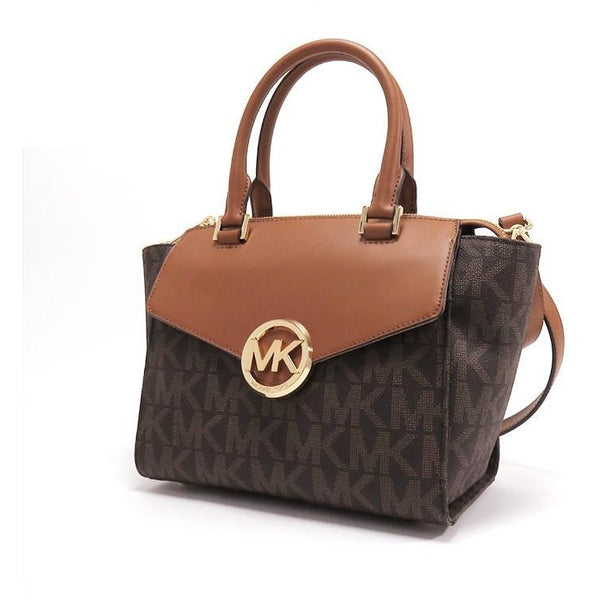 Michael Kors Hudson Medium Brown Signature PVC Satchel
