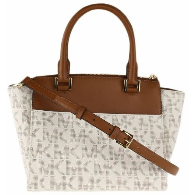 Michael Kors Hudson Medium Satchel Crossbody Bag Vanilla