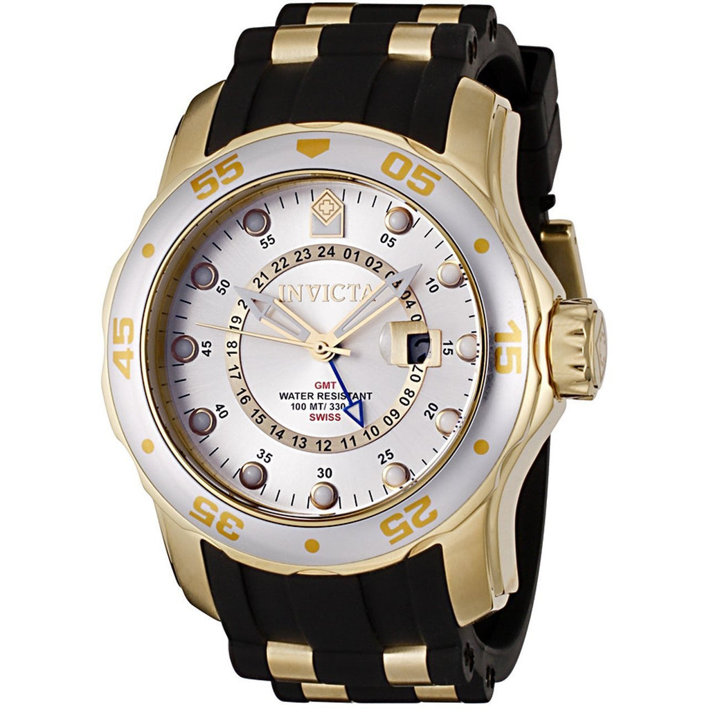 Invicta Men's 6995 Pro Diver Quartz GMT Silver, Gold Dial Watch