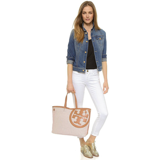 Tory Burch Women's Lonnie Canvas Tote, Natural/Vachetta, One Size