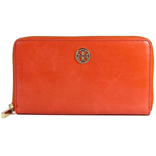 3618a222e4e Tory Burch Dena Zip Around Continental Distressed Leather Wallet in Blood  Orange