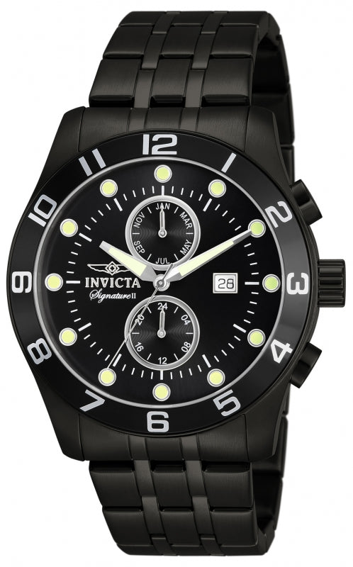 Invicta Men's 7451 Signature Quartz 3 Hand Black Dial Watch