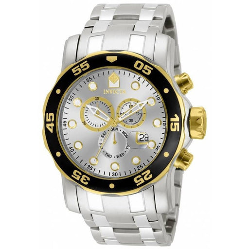 Invicta Men's 80040 Pro Diver Quartz Chronograph Silver Dial Watch