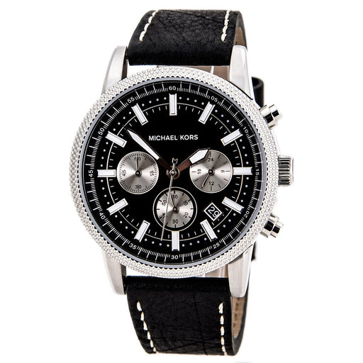 Michael Kors Chronograph Black Dial Black Leather Men's Watch MK8310