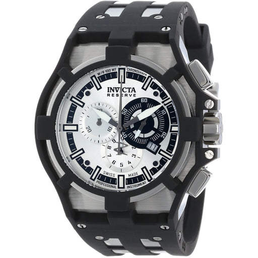 Invicta Men's 14011 Akula Reserve Chronograph Silver Dial Black Polyurethane Watch