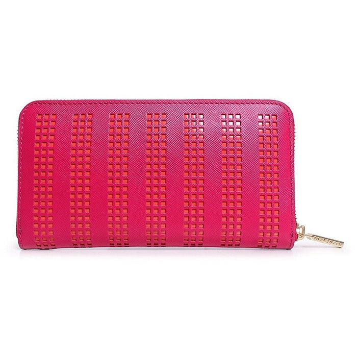 Tory Burch Robinson Perf Zip Continental Wallet in Carnation Red/ Poppy Coral