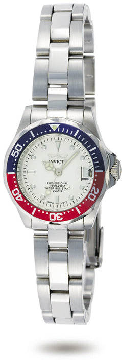 Invicta Women's 8940 Pro Diver Quartz 3 Hand Silver Dial Watch