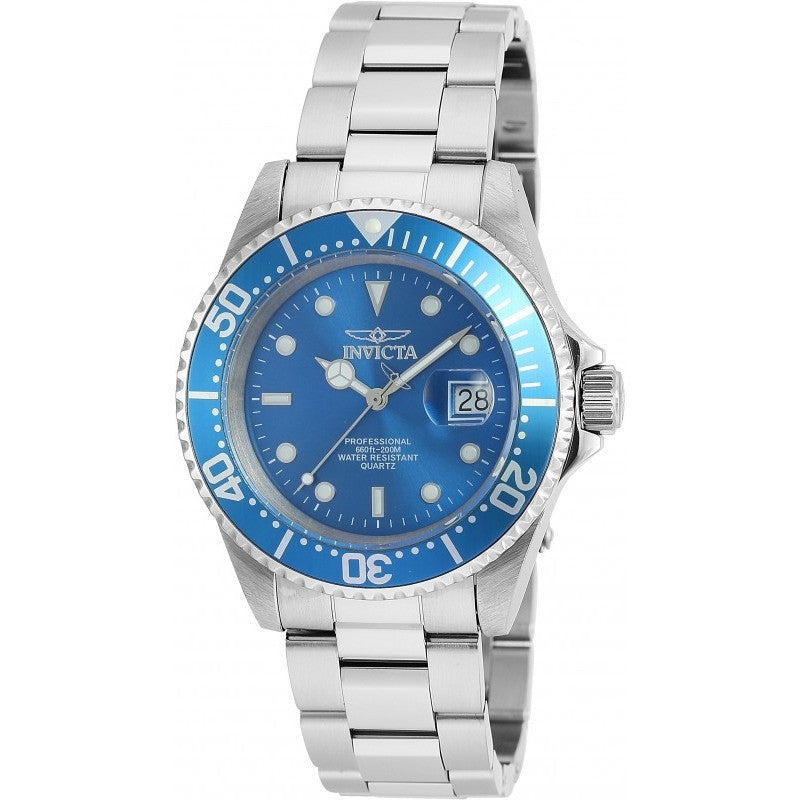 Invicta Men's 90258 Pro Diver Quartz 3 Hand Blue Dial Watch