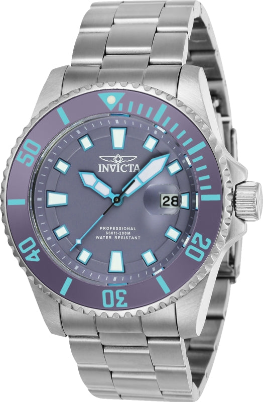Invicta Men's 90292 Pro Diver Quartz 3 Hand Purple Dial Watch
